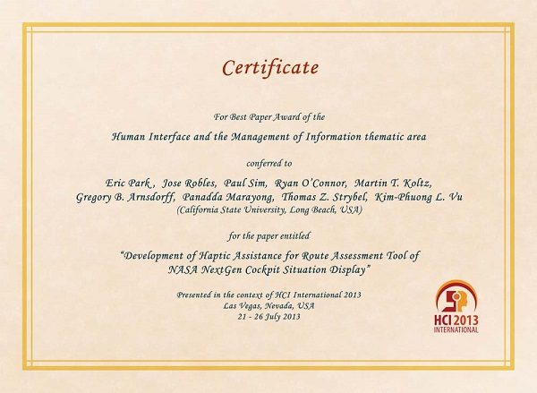 Certificate for best paper award of the Human Interface and the Management of Information thematic area. Details in text following the image