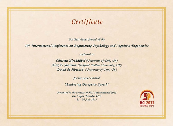 Certificate for best paper award of the 10th International Conference on Engineering Psychology and Cognitive Ergonomics. Details in text following the image