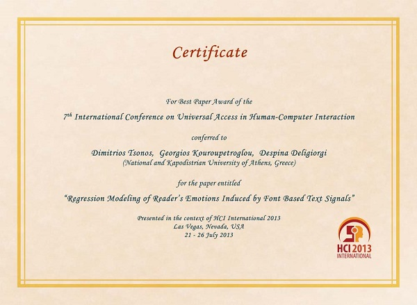 Certificate for best paper award of the 7th International Conference on Universal Access in Human-Computer Interaction. Details in text following the image