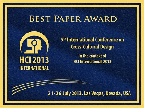 Cross-Cultural Design Best Paper Award. Details in text following the image.