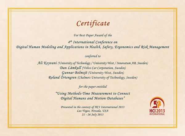 Certificate for best paper award of the 4th International Conference on Digital Human Modeling and applications in Health, Safety, Ergonomics and Risk Management. Details in text following the image