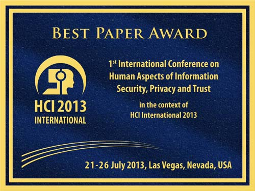Human Aspects of Information Security, Privacy and Trust Paper Award. Details in text following the image.