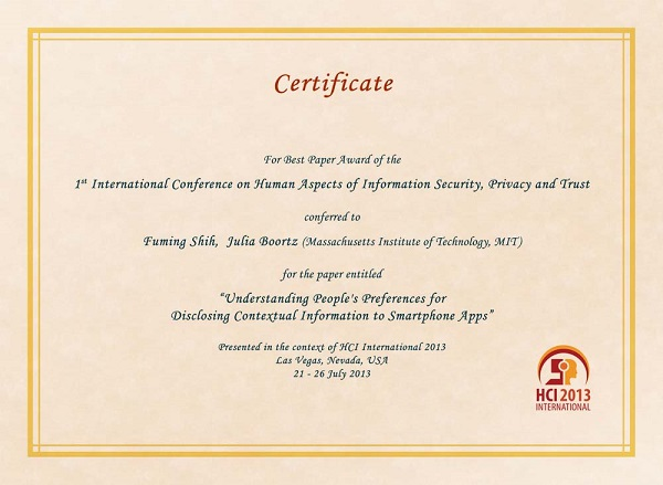 Certificate for best paper award of the 1st International Conference on Human Aspects of Information Security, Privacy and Trust. Details in text following the image
